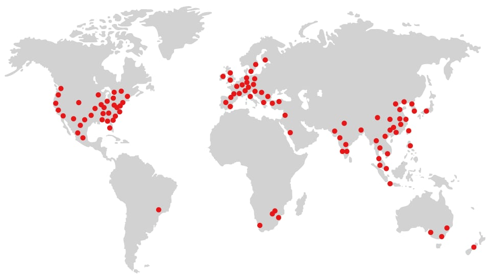 KEYENCE GLOBAL NETWORK:220 offices in 46 countries